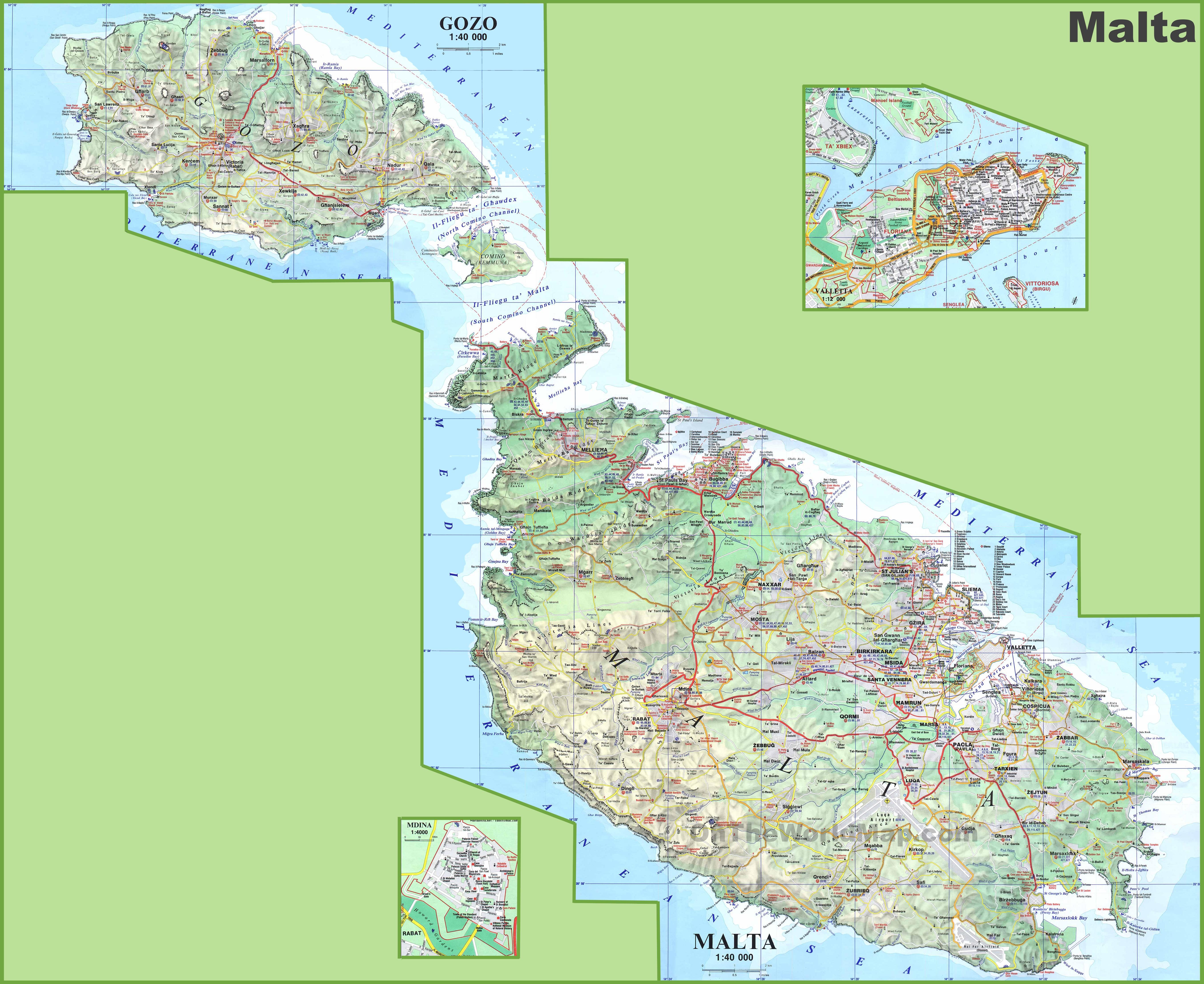 kort over malta