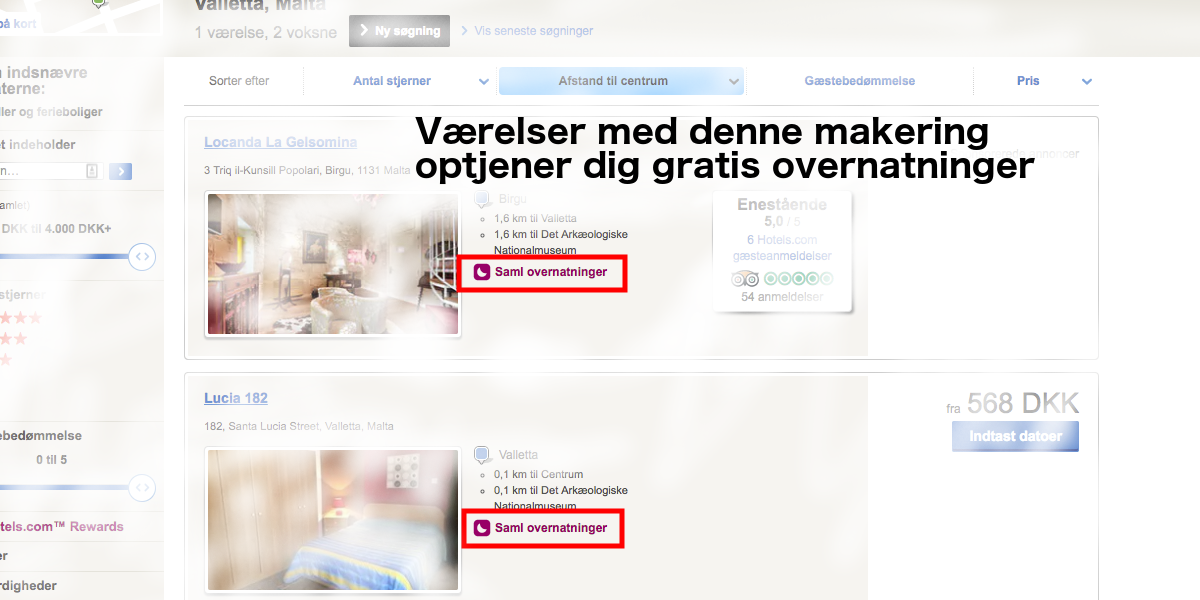 Hotels.com gratis overnatning